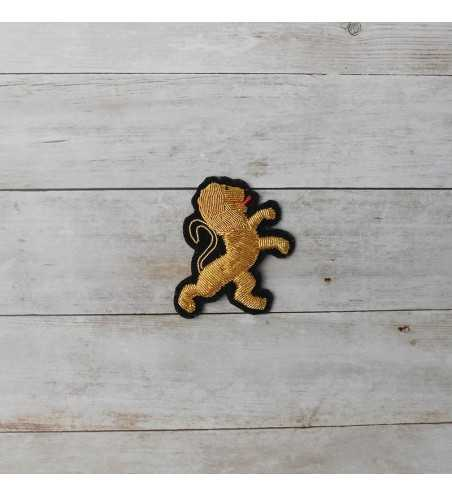 León de oro francés bordado para poner en ropa (coser)