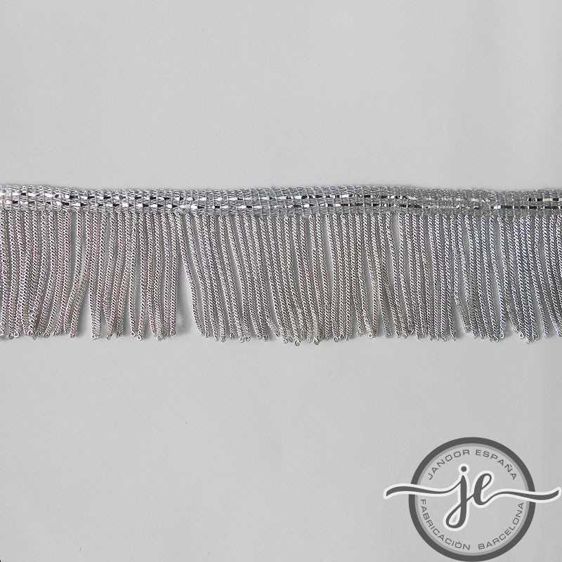 Metallic silver fringe