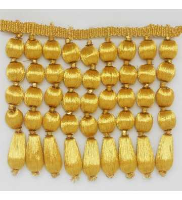 Non-metallic acorned french gold fringe