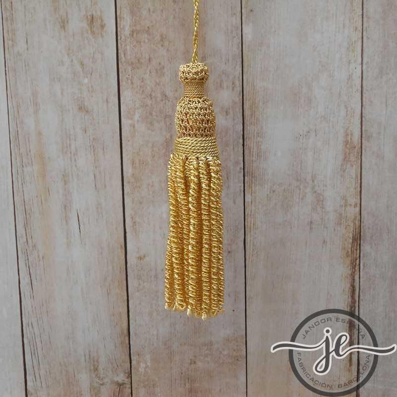 Borla de oro 4 cm con fleco de canutillo y canelón de 9 cm