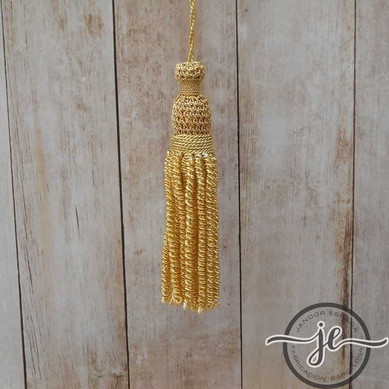 Gold tassel 4 cm with 9 cm curly fringe