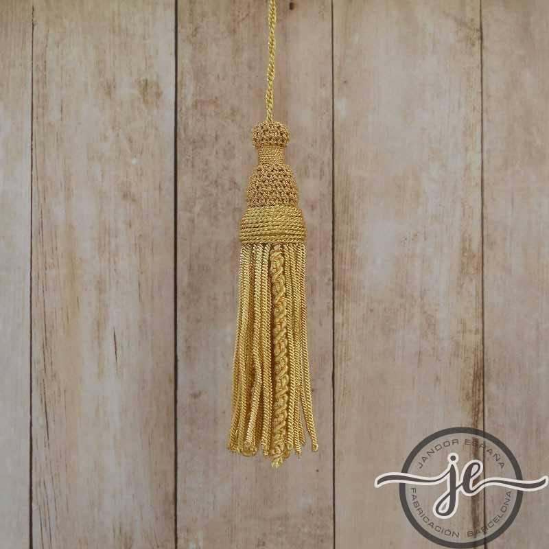 Borla de oro de 5 cm con fleco de canutillo y gusanillo de 8 cm