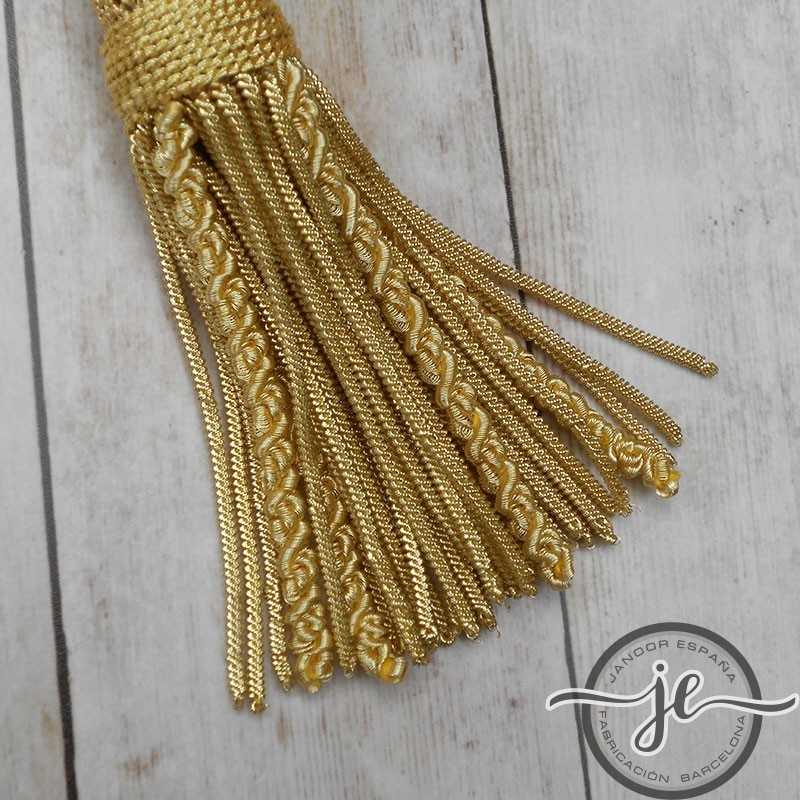 Gold tassel 5 cm with 8 cm curly fringe