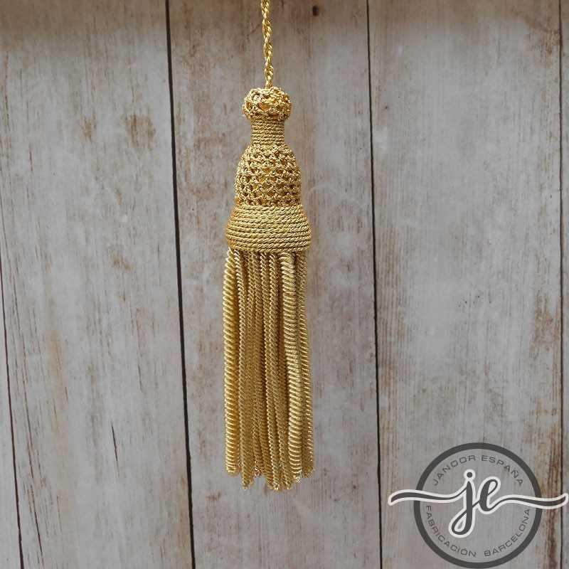 Borla de oro de 5 cm con fleco de canutillo y gusanillo de 9 cm