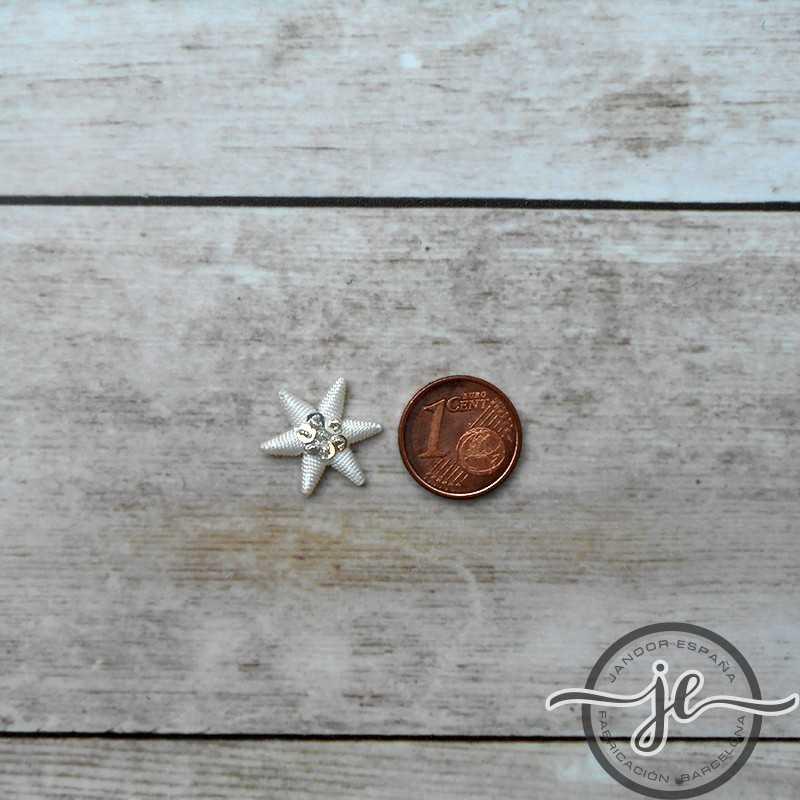 Estrella bordada en hilo de plata