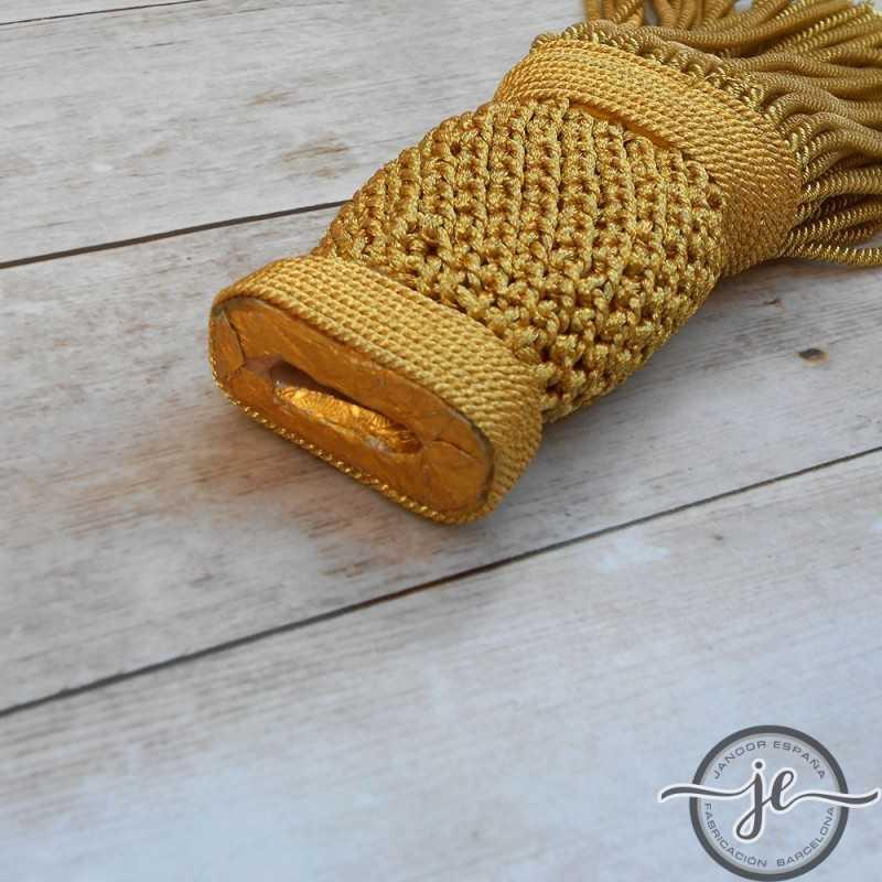 Borla dorada torcidode con fleco de Canutillo 16 cm